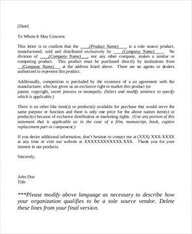 sole distributor letter sample
