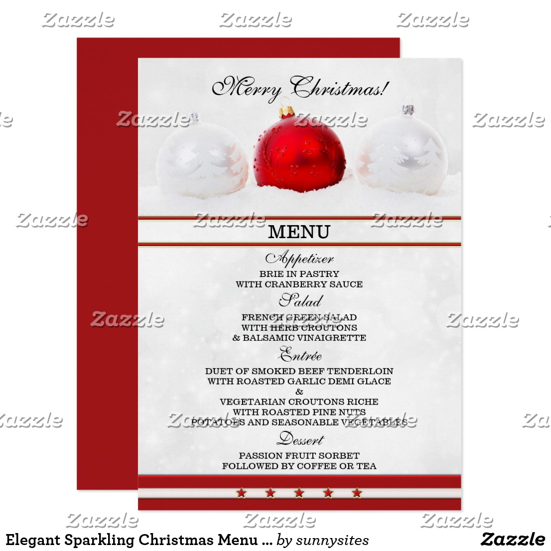 sparkling christmas menu card example