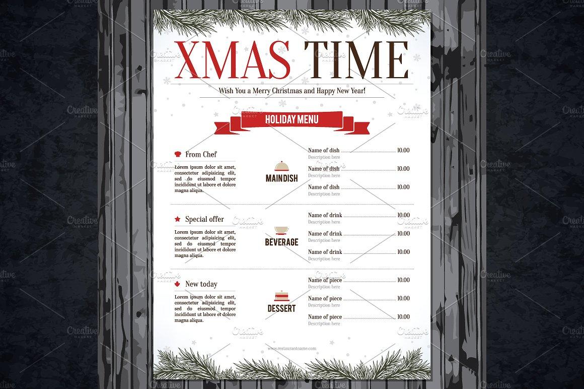 special christmas festive menu example