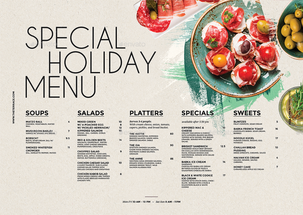 special holiday party menu example