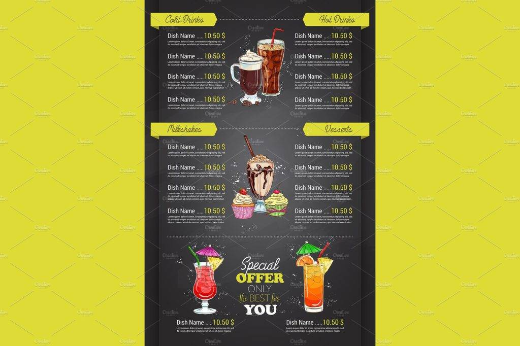special offer cocktail menu example