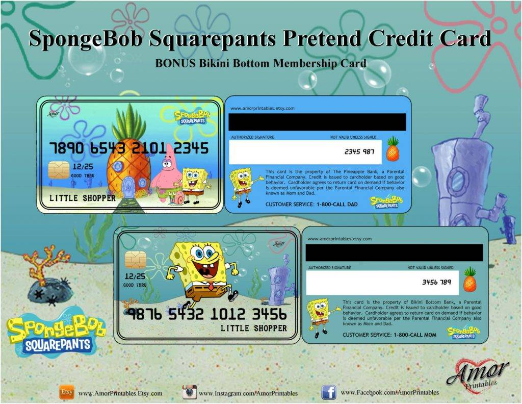 spongebob squarepants credit cards or membership card