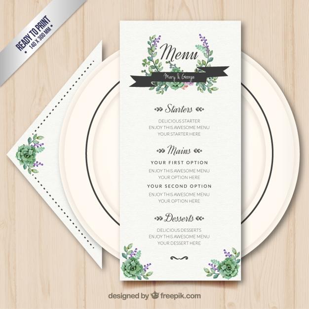 spring wedding menu example