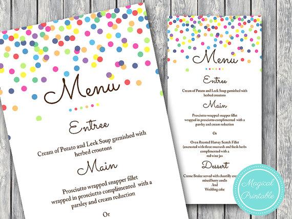 sprinkles birthday menu example