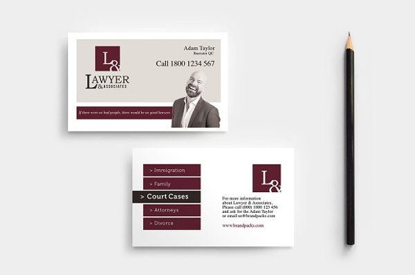standard lawyer business card