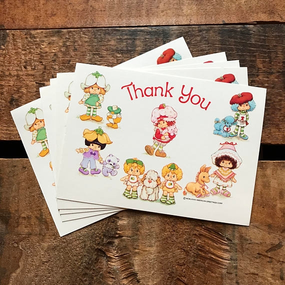 strawberry shortcake thank you postcard example
