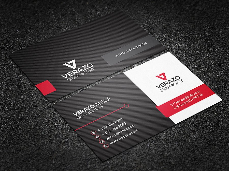 striped modern business card example