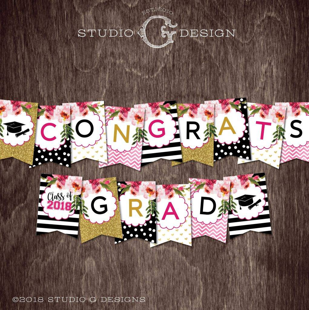 stripes and gold glitter with flowers graduation banner example
