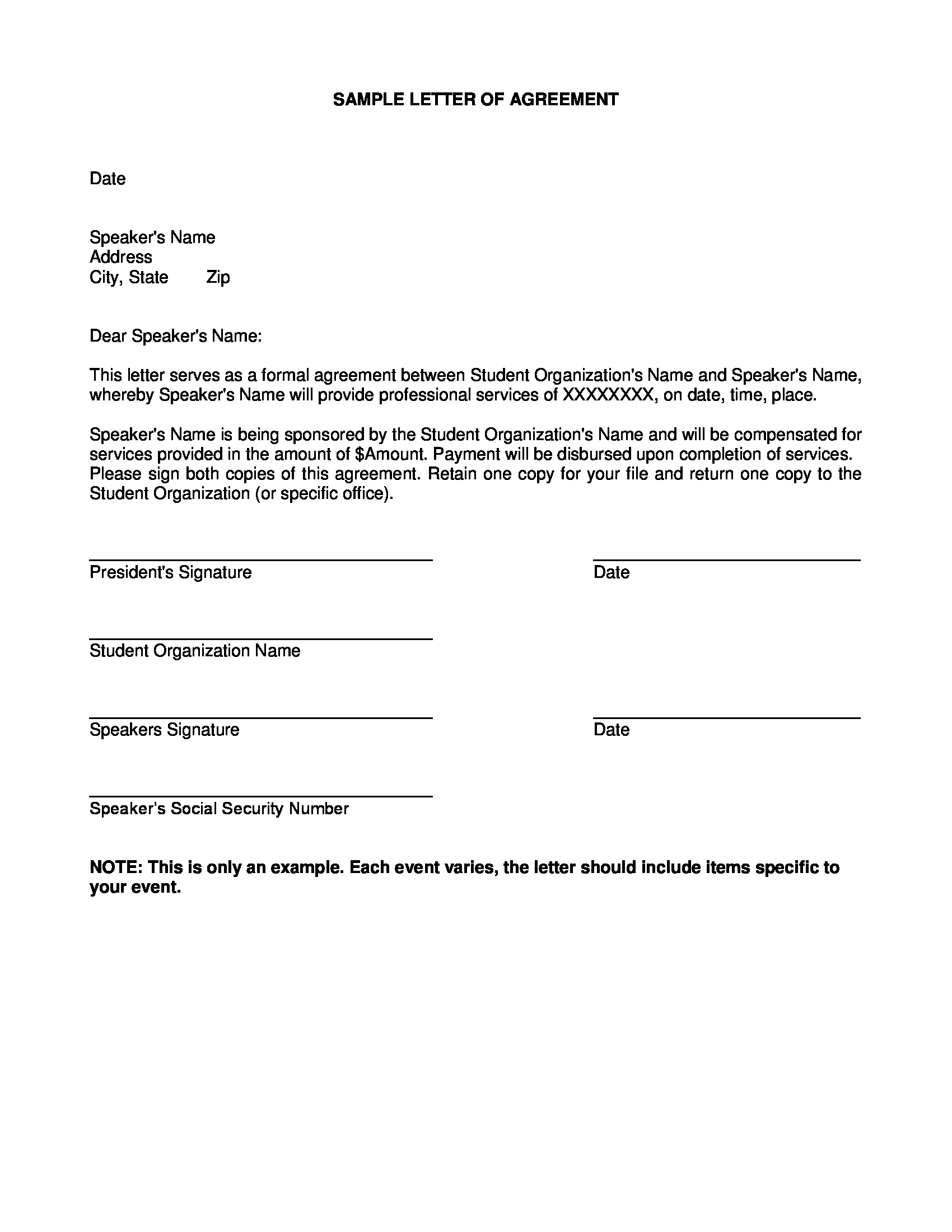 student organization agreement letter example