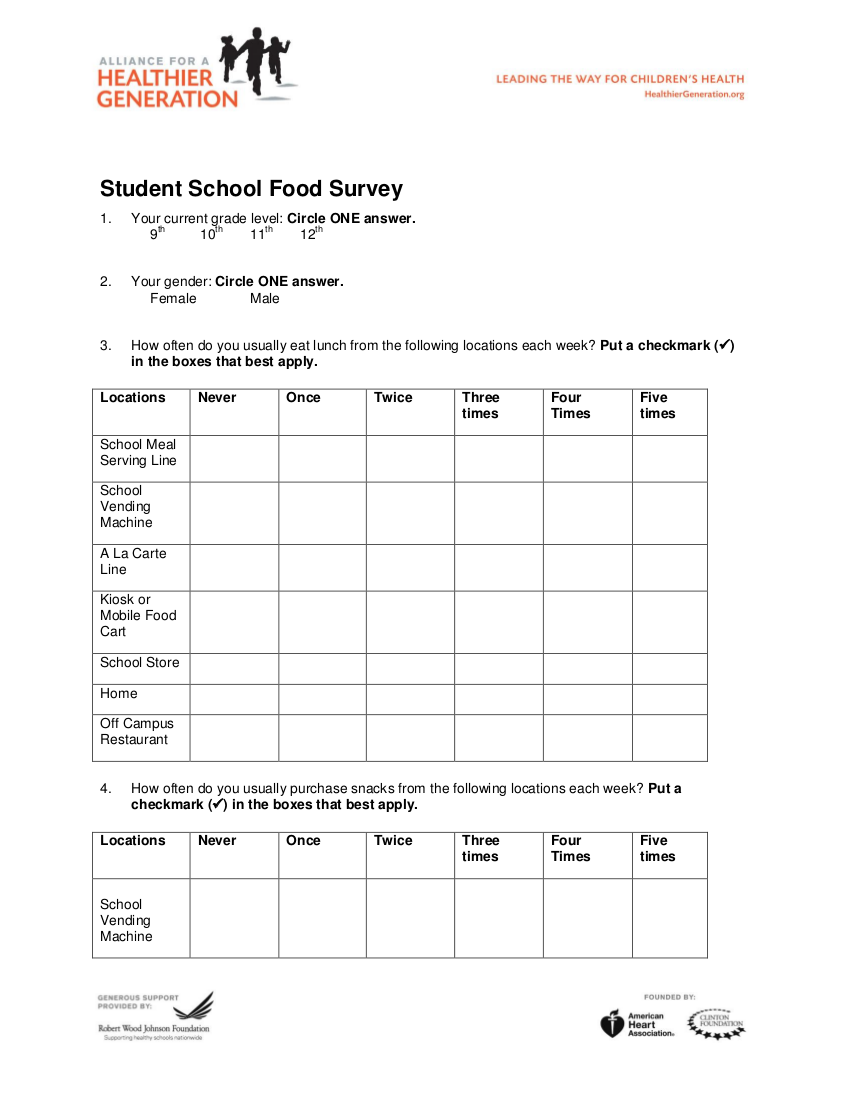 student school food survey example