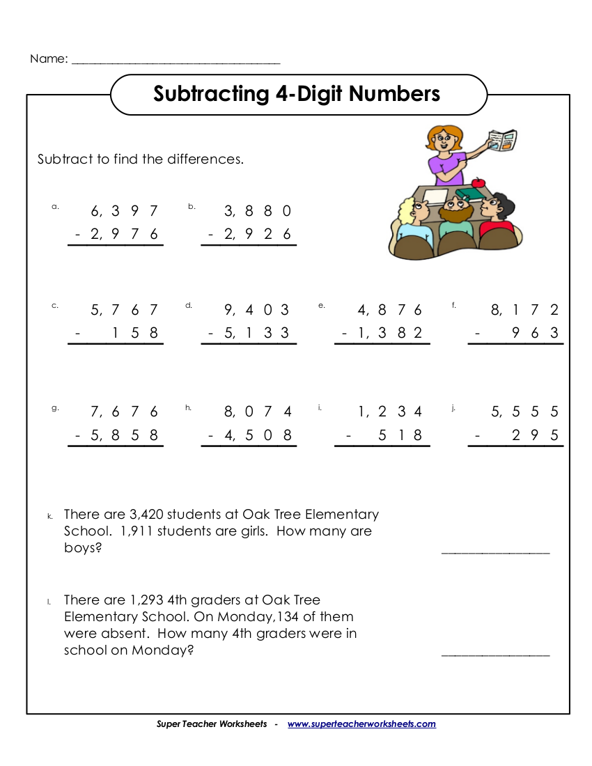 subtracting four digits worksheet examples