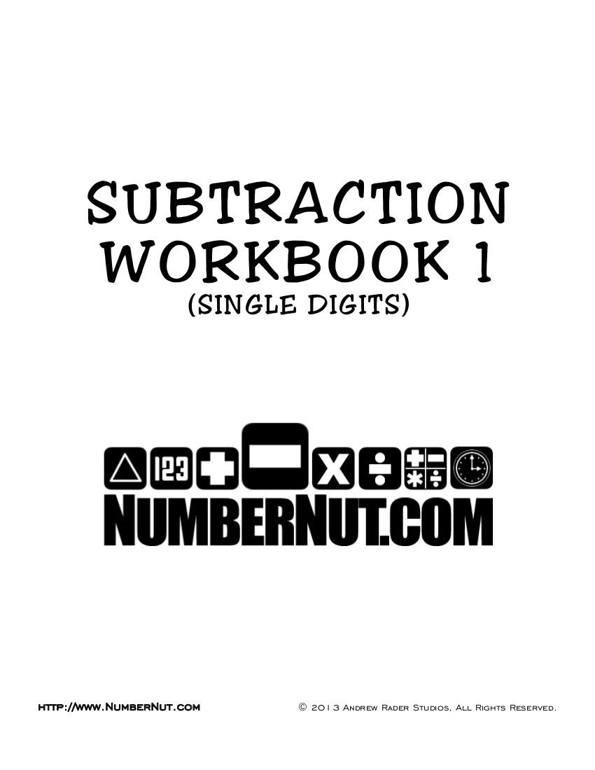subtraction workbook example