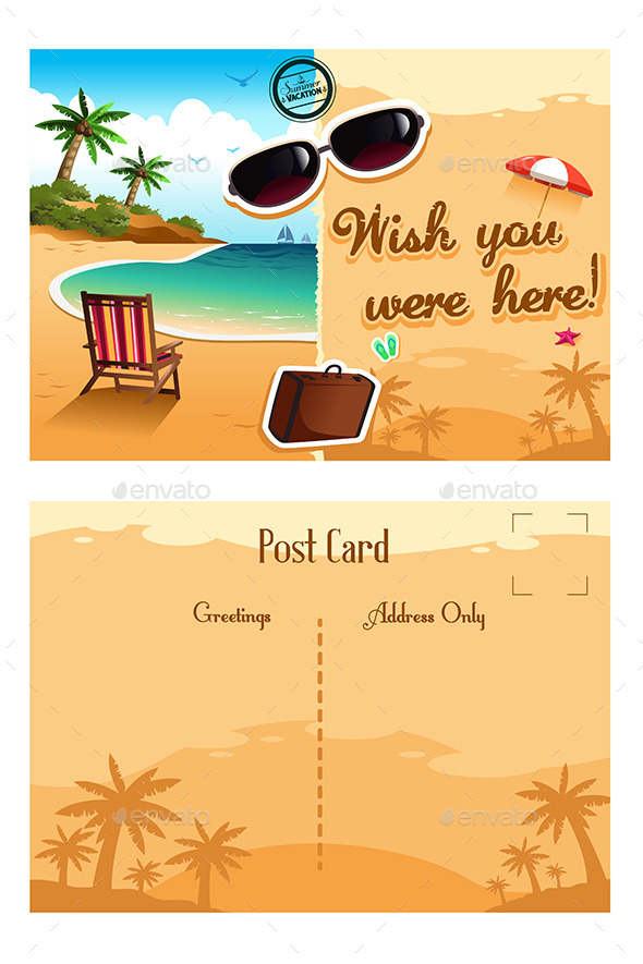 summer vacation travel postcard example