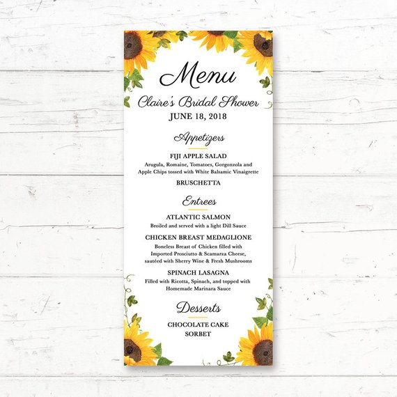 sunflower birthday menu example