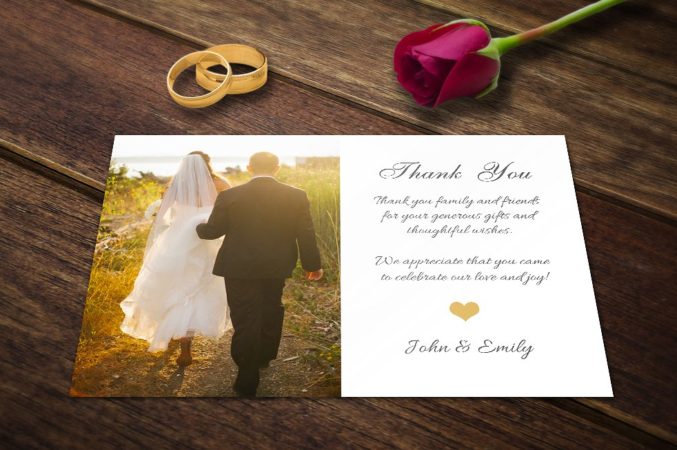 sunlight wedding thank you postcard example