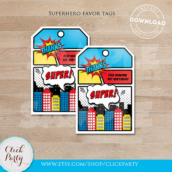 superhero birthday thank you tag