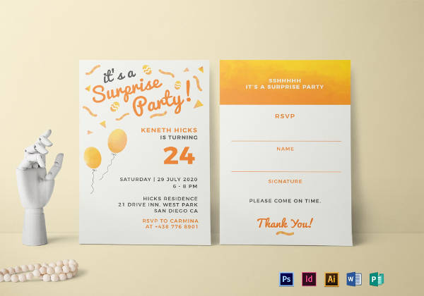 surprise birthday party invitation example