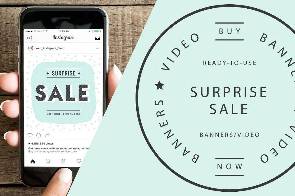 surprise sale banners and video example