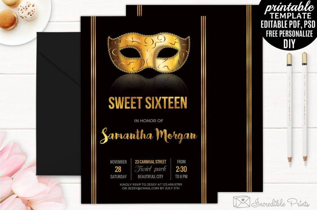 sweet sixteen masquerade invitation example