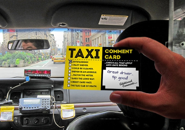 taxi comment card