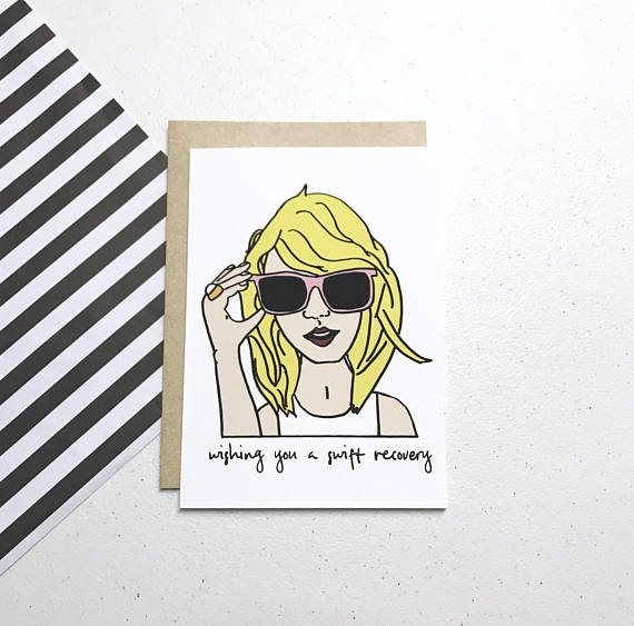 taylor swift pun get well greeting card example