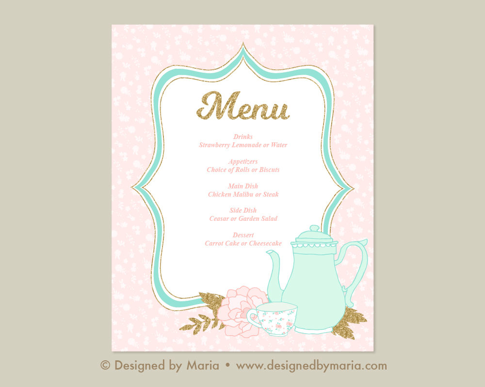 tea menu in pink example