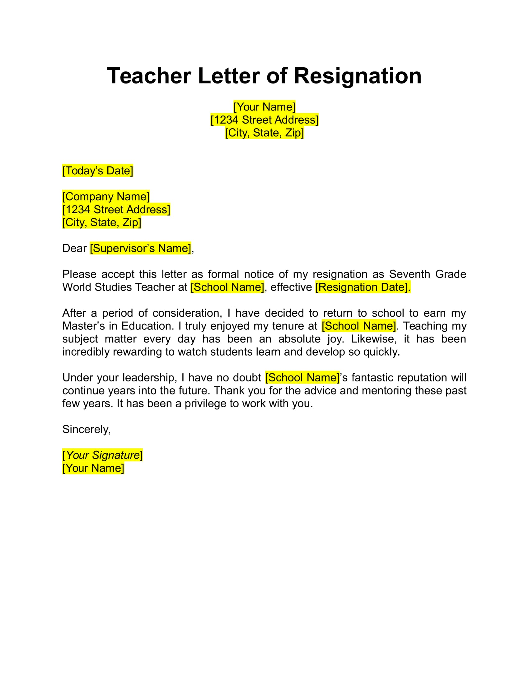 17 free resignation letter pdf doc teacher resignation letter example expocarfo Choice Image
