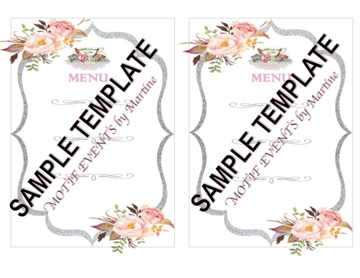 template for tea menu example