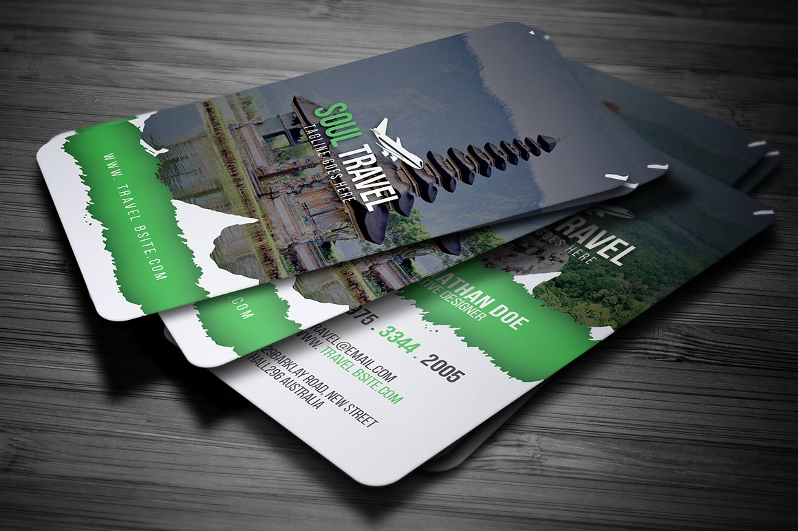temple travel agency card example