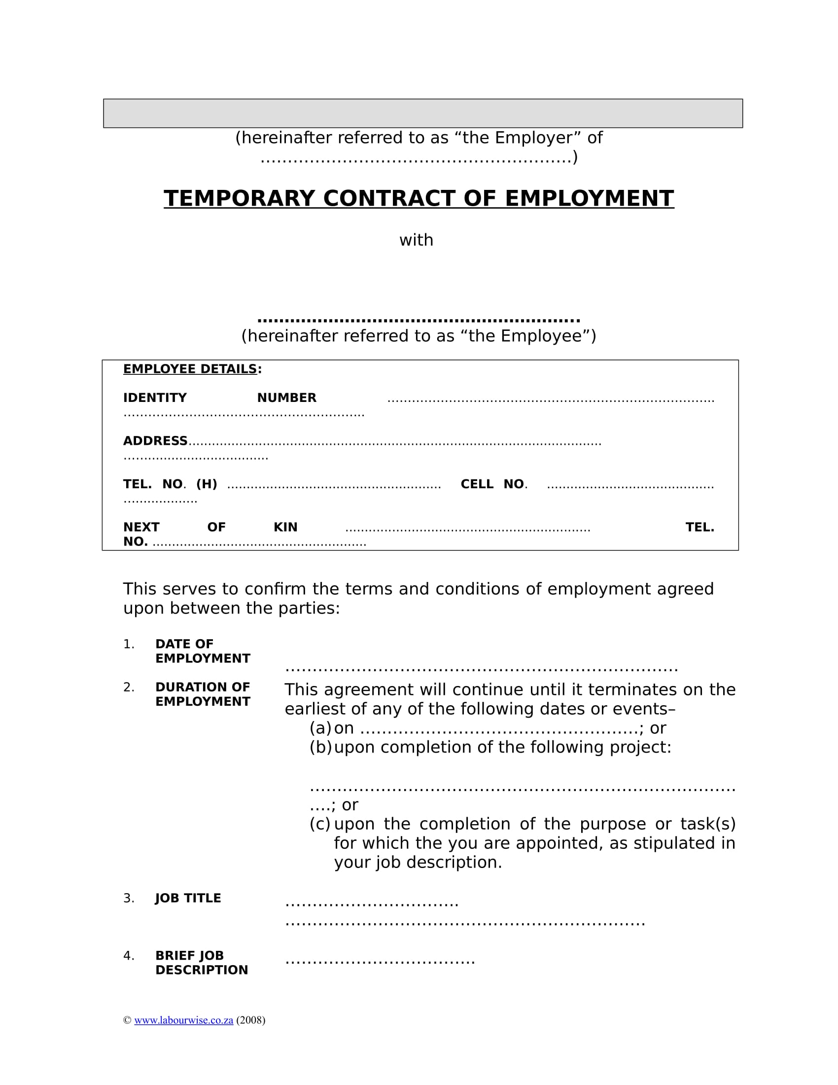 temporary contract of employment example