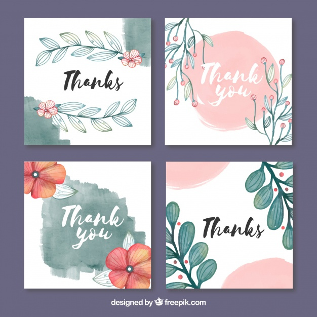 thank you card collection with watercolor design example