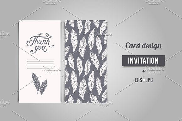 thank you card design with lettering example