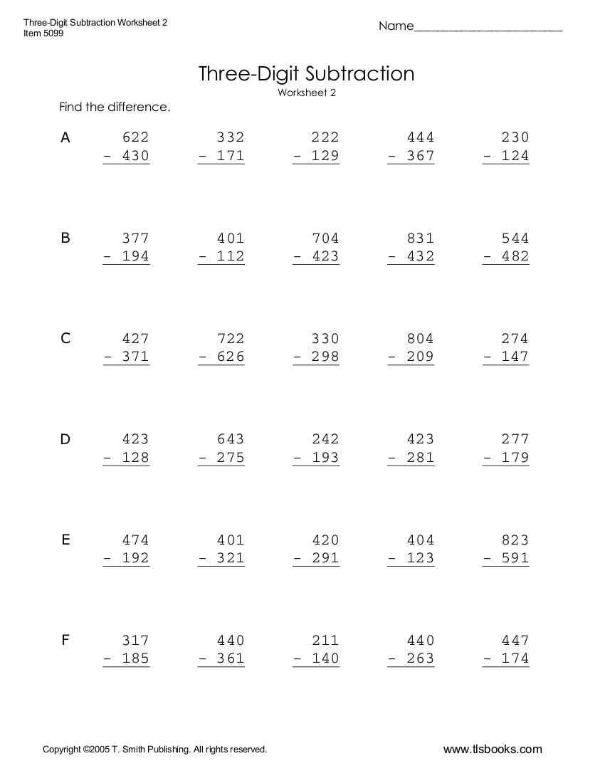 three digit subtraction worksheet example