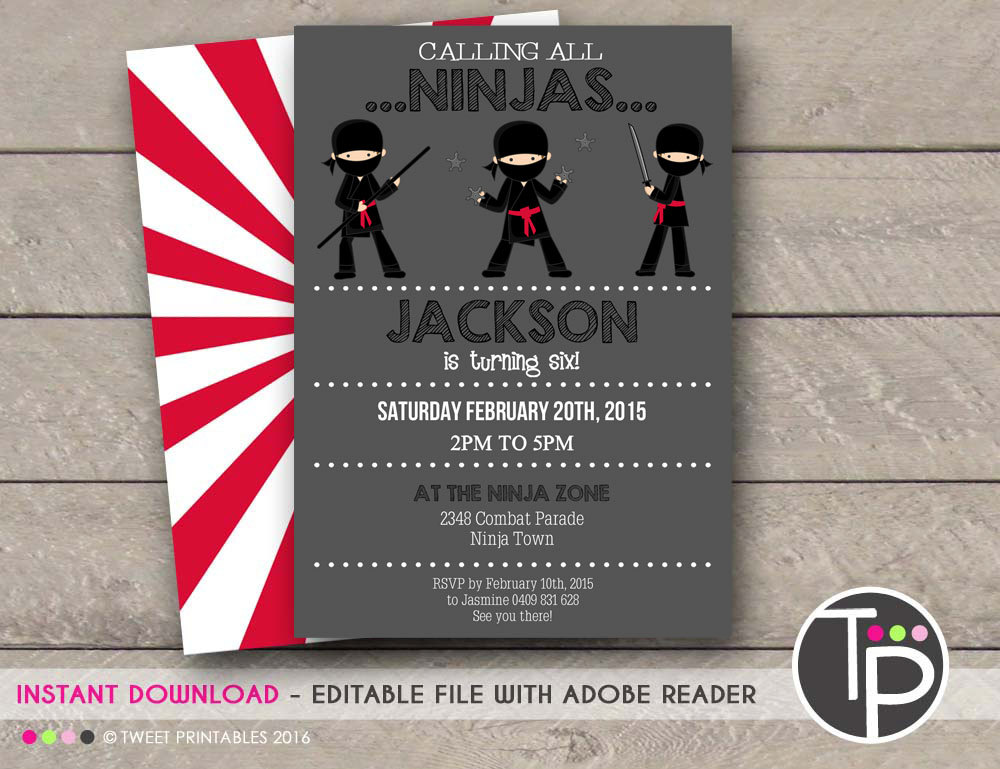 three ninjas invitation example