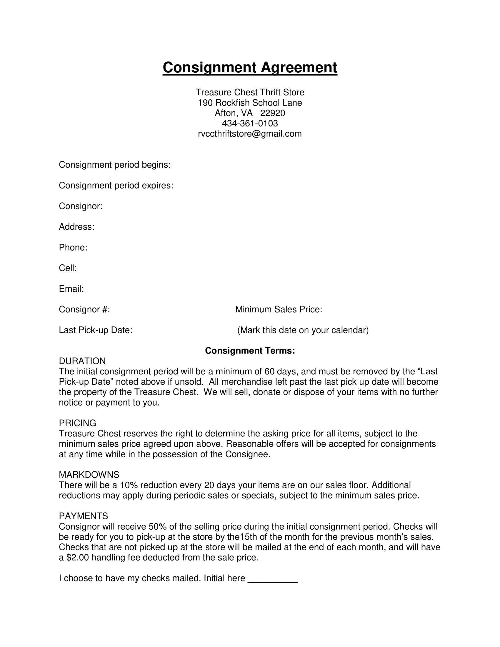 thrift store consignment agreement example