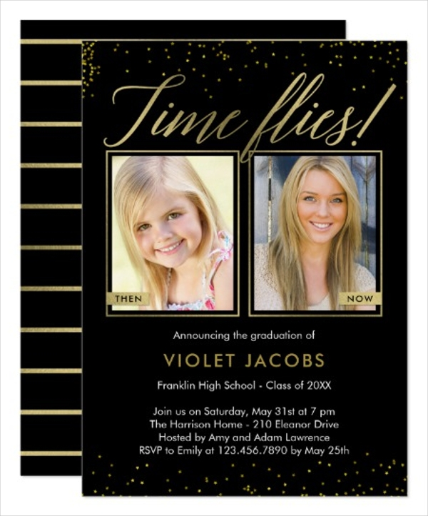 time flies graduation invitation gift card