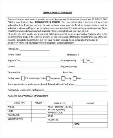 travel authorization request