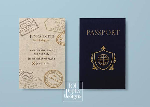 travel business card passport business card design