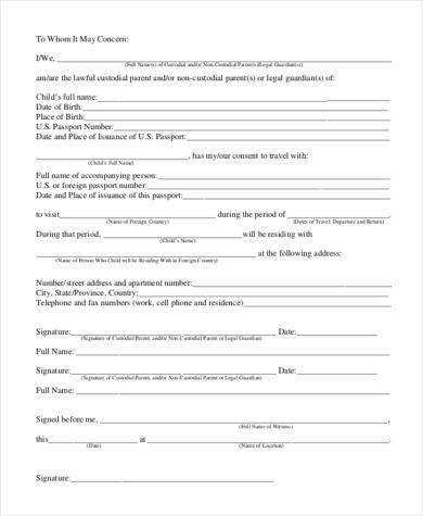 travel child authorization example3