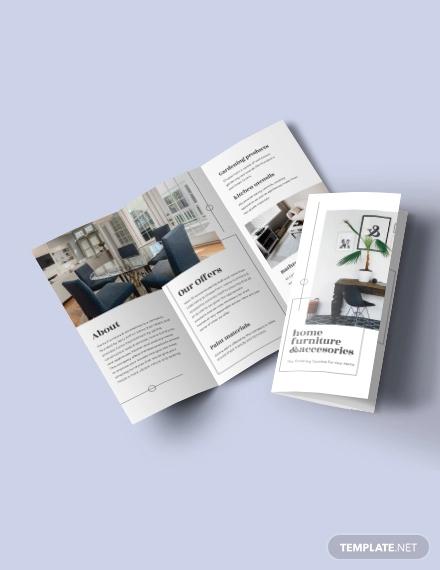 tri fold furniture store brochure template