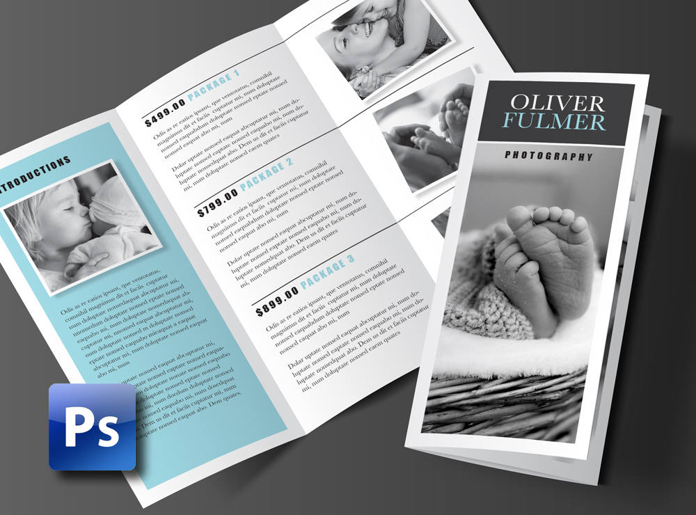 trifold photoshop and photography brochure template