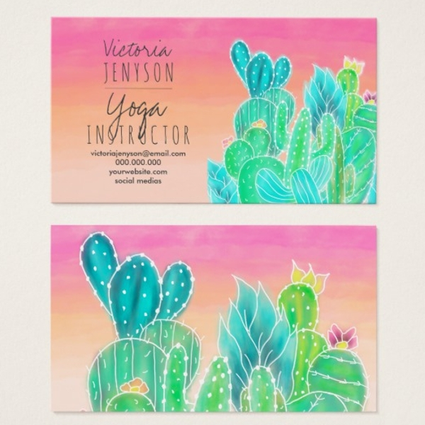 tropical exotic cactus illustration yoga business card