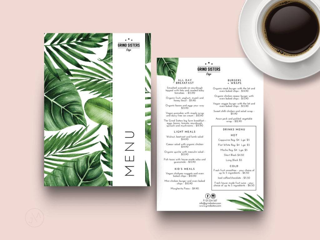 tropical indesign menu template example