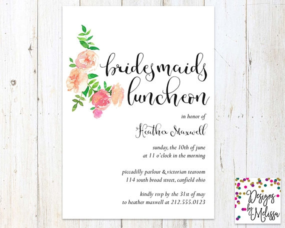 typography bridal luncheon invite