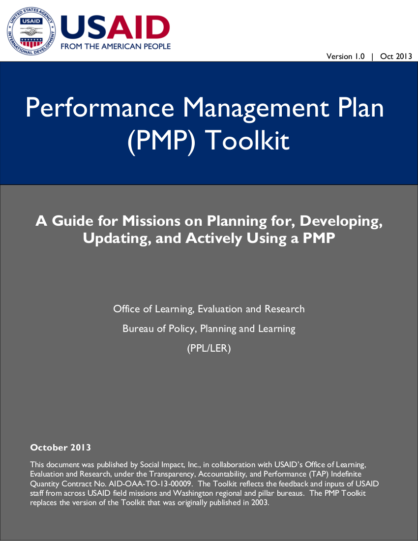 usaid performance management plan example