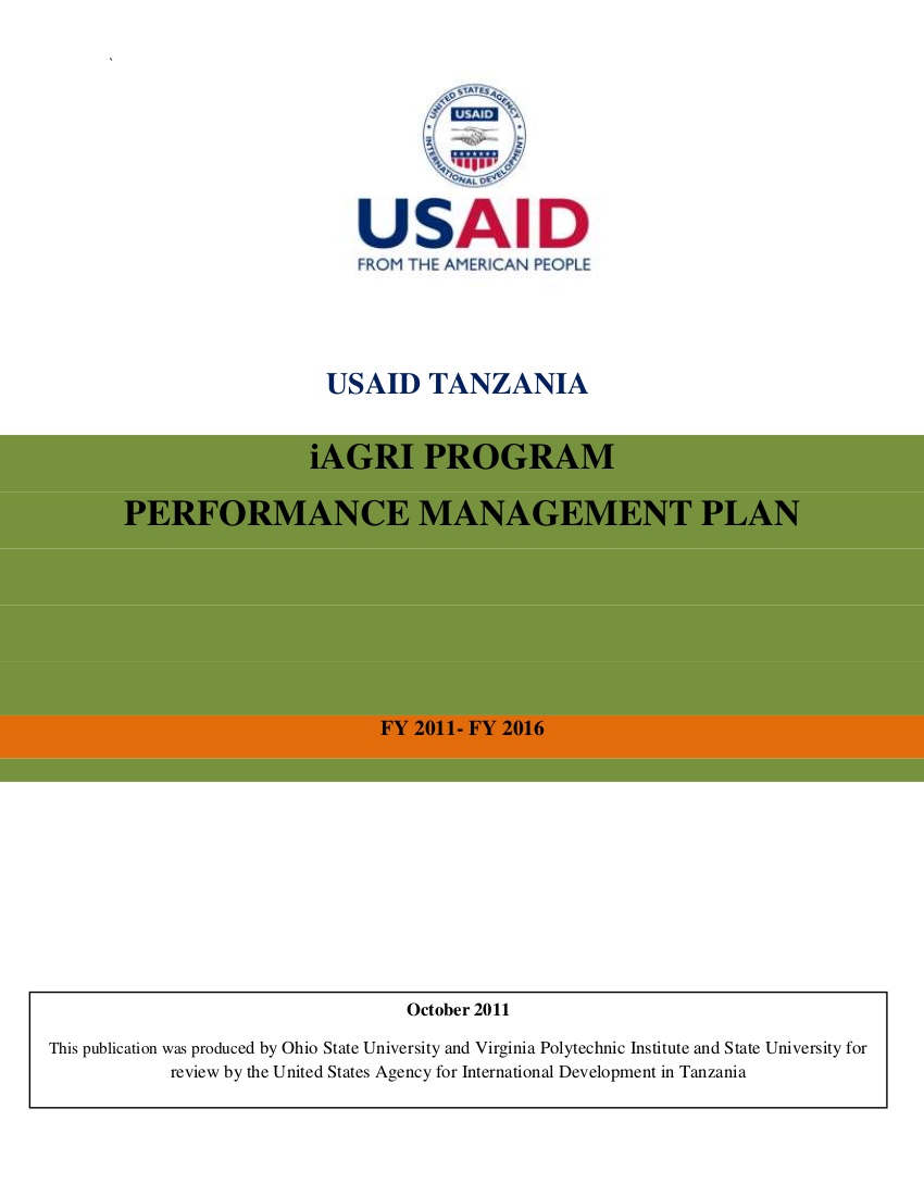 usaid tanzania performance management plan