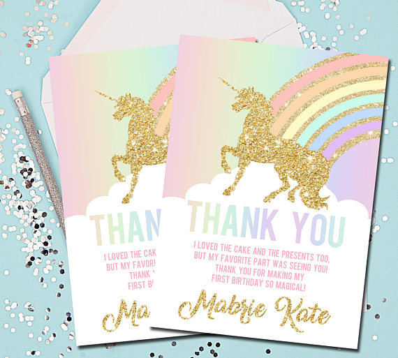 unicorn thank you card example