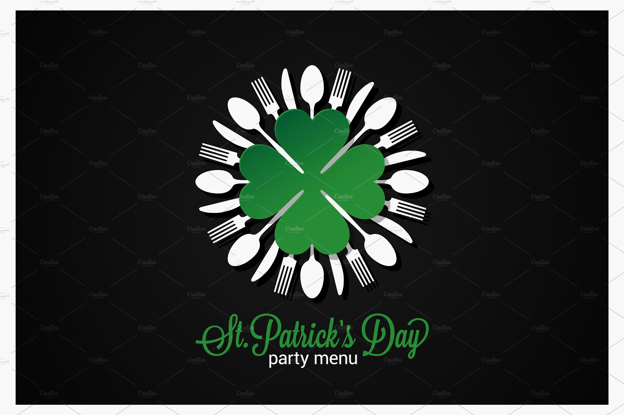 utensils and clover st patrick menu example