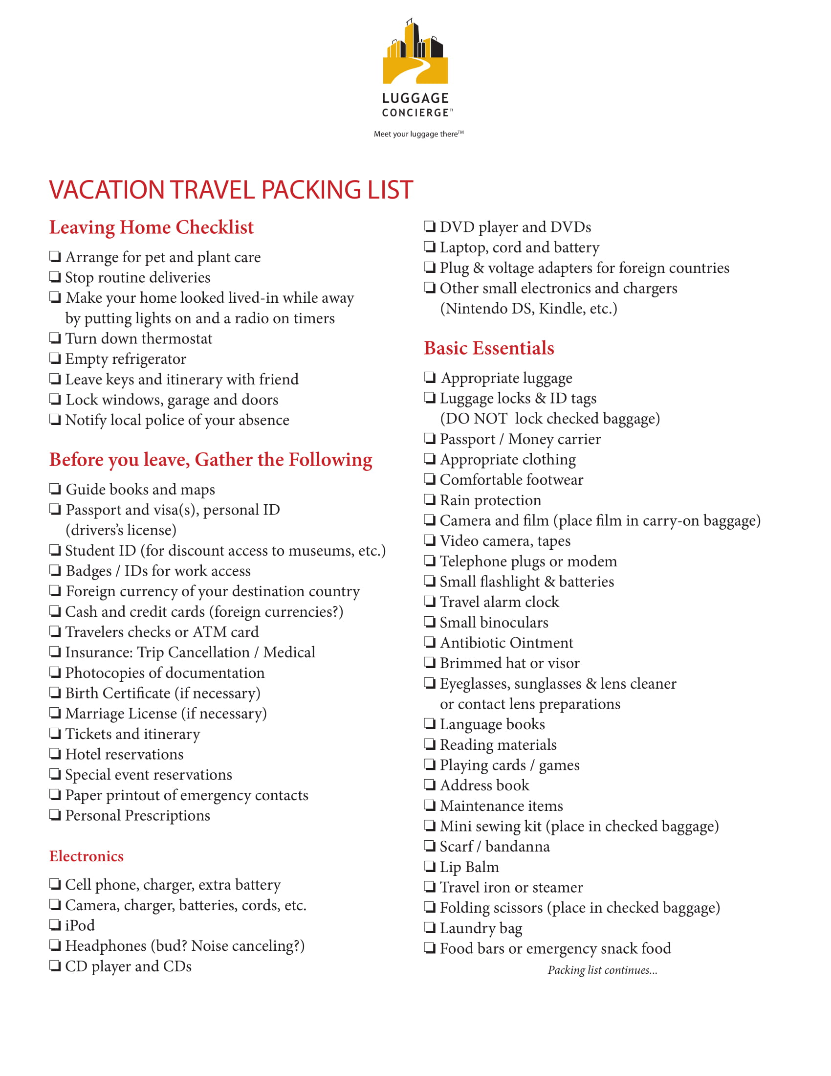 vacation travel packing list example