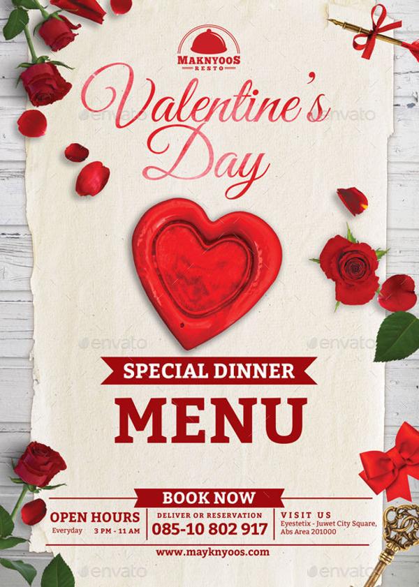 valentine food menu example